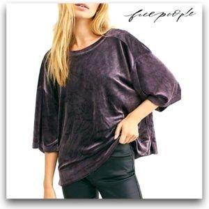 We The Free Valerie Purple Velour t-shirt Top